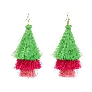 Dark Pink Green Tassels Statement Dangle Earrings